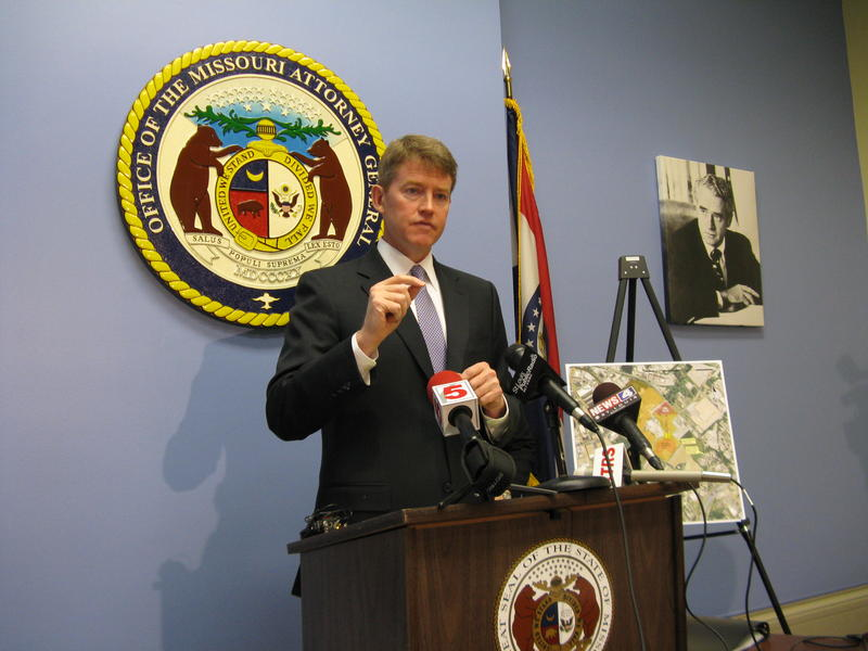 Mo. Atty. General Chris Koster outlines his lawsuit over concerns at the Bridgeton Landfill on March 27, 2013.