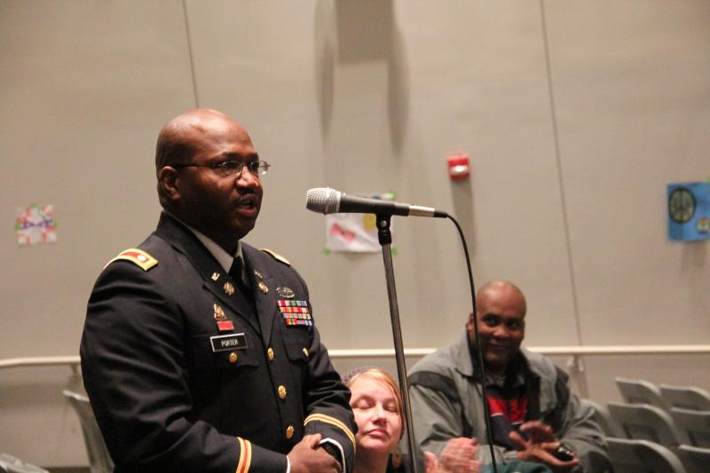 Cleveland NJROTC alumnus Lt. Col. Keith Porter makes a case for saving the school during a town hall meeting on Saturday, March, 2, 2013.