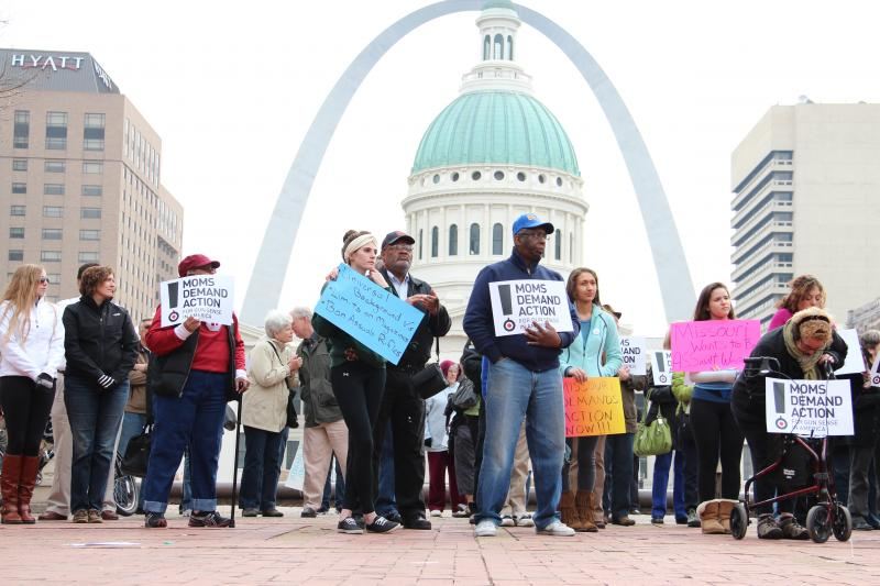 Pro gun-control supporters rally at Kiener Plaza in downtown St. Louis on Saturday, March 30.
