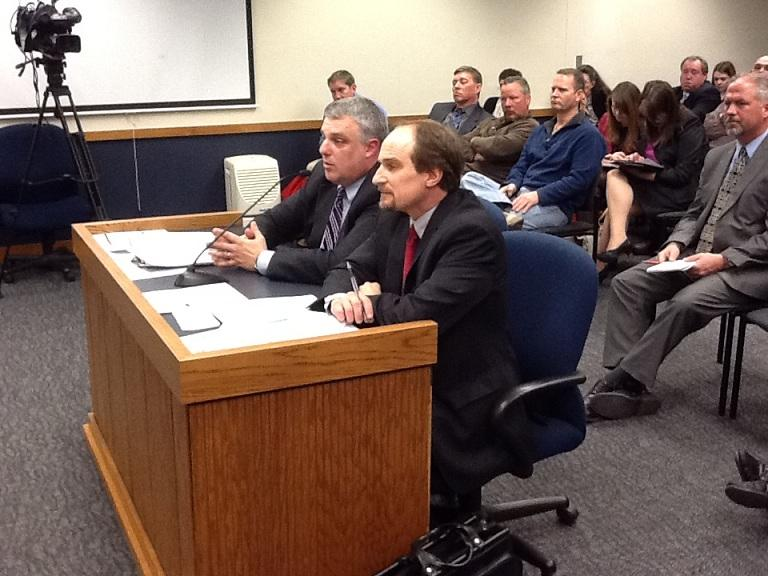 (l-r) Mo. Dept. of Revenue Deputy Director John Mollenkamp and Director Brian Long testify before Mo. House Committee on Govt. Oversight on March 11, 2013. Long resigned April 15th and Mollenkamp is now Acting Director.