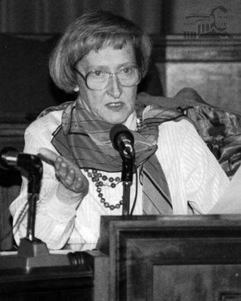 Dawn Clark Netsch speaking in the Illinois Senate in the late 1980s. Netsch died Tuesday of Lou Gehrig's disease