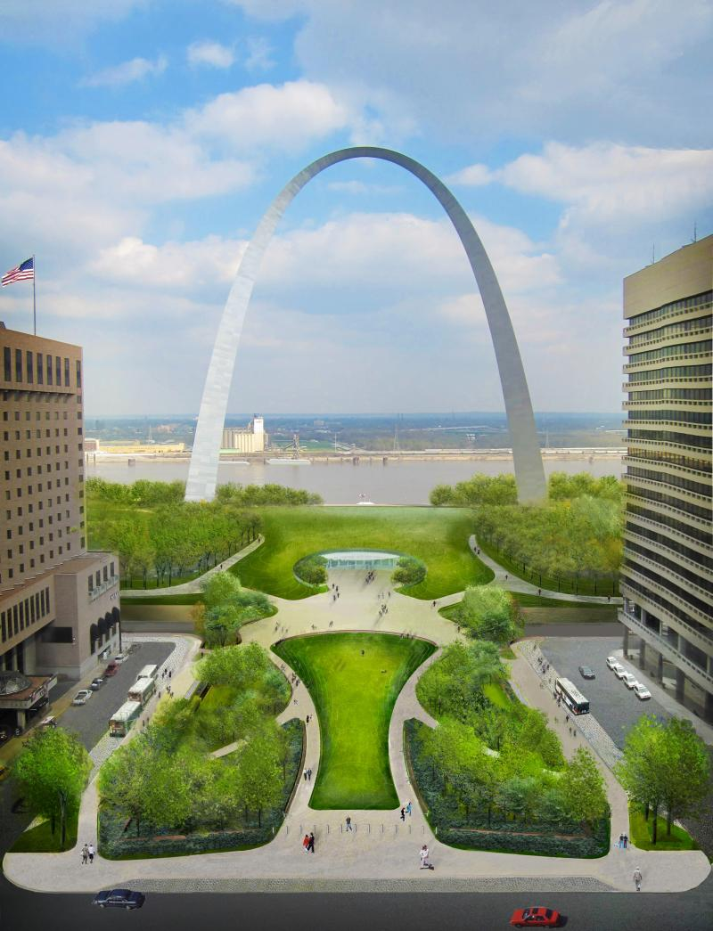 "The planned changes to the Arch, creating a ""park over the highway."""