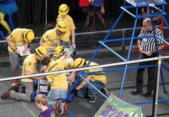 The O'Fallon Township High School (IL) Robotics Team competes in a FIRST Robotics competition