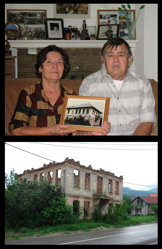 A Bosnian family in St. Louis holds a picture of their home in Bosnia, now destroyed.  On the mantle is a photograph of a son who was killed in the genocide.
