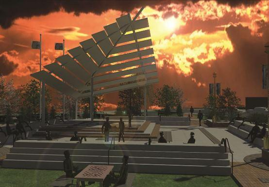 Proposed Dr. Martin Luther King, Jr. Legacy Park illustration at sunset, to be placed at the corner of Hamilton Avenue and Martin Luther King Boulevard
