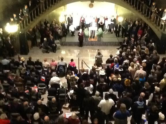 iPad photo of people crammed inside the Mo. Capitol Rotunda for a rally on Apr. 16, 2013, in which Gov. Jay Nixon called for expanding Medicaid.