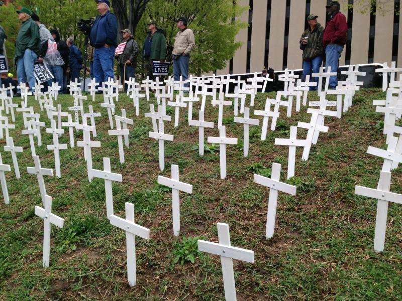 1000 Crosses were planted by protesters on a hill in Kiener Plaza. The crosses signified the deaths of former miners, as well as the potential loss of healthcare for retired miners.