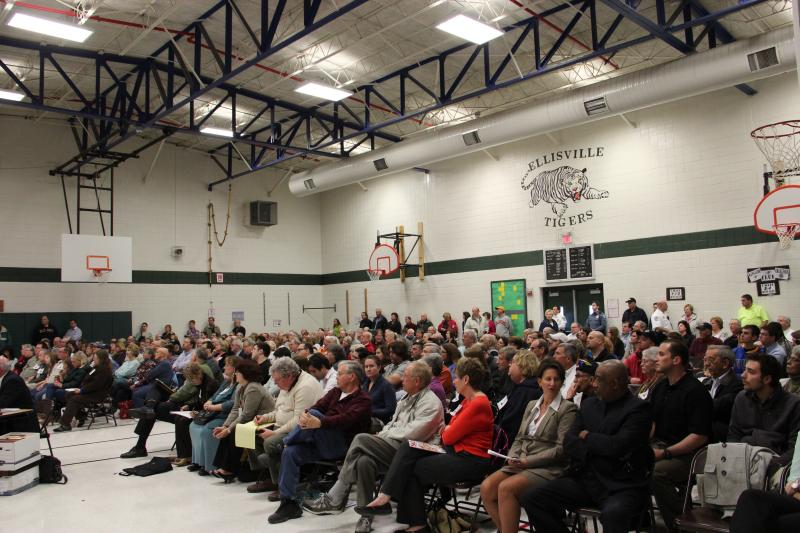 Many of the people in the packed grade school gymnasium in Ellisville supported Mayor Adam Paul.