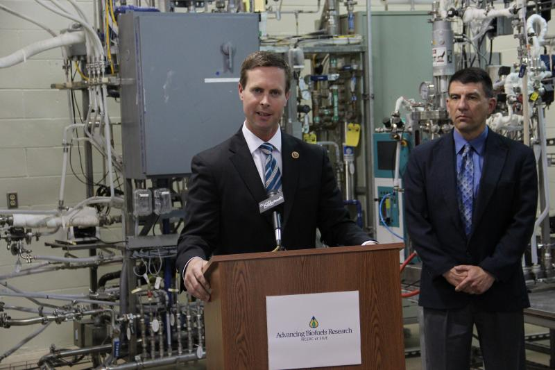 "U.S. Rep. Rodney Davis (R-Ill.) Introduces the ""Opportunity KNOCKS Act"" during a press conference at the National Corn-to-Ethanol Research Center in Edwardsville on Tuesday, April 30."