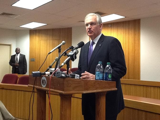 Mo. Gov. Jay Nixon (D) talks to reporters following his meeting with House Republicans on Apr. 3rd, 2013.