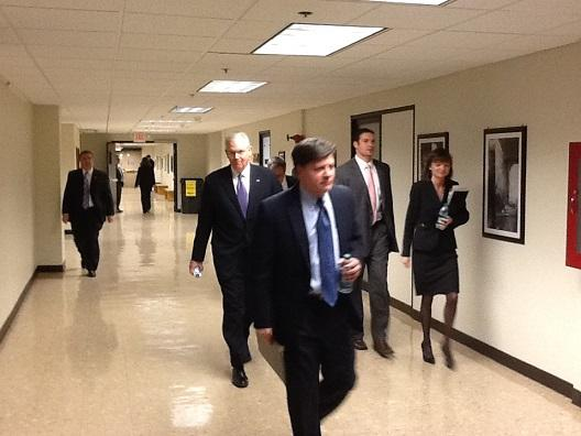 Mo. Gov. Jay Nixon (D) and staff members head to a meeting with House Republicans at the State Capitol on Apr. 3rd, 2013, where he discussed his plans for Medicaid expansion.
