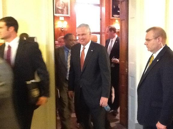 Mo. Gov. Jay Nixon (D) leaves a meeting of the Mo. Senate's Republican caucus on April 9th, 2013.