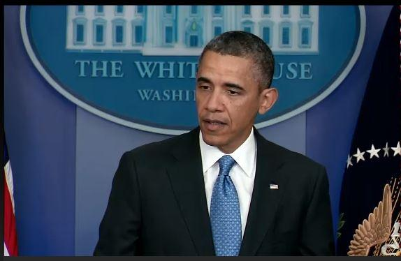 President Obama takes questions from reporters during a press conference on April 30, 2013.