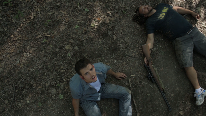 Actors Christopher B. Corrigan, left, and  Jasun Hicks star in the movie 'Lake Windfall' from Rustic Lantern Films. It centers on five friends who embark on a camping trip that turns disastrous.
