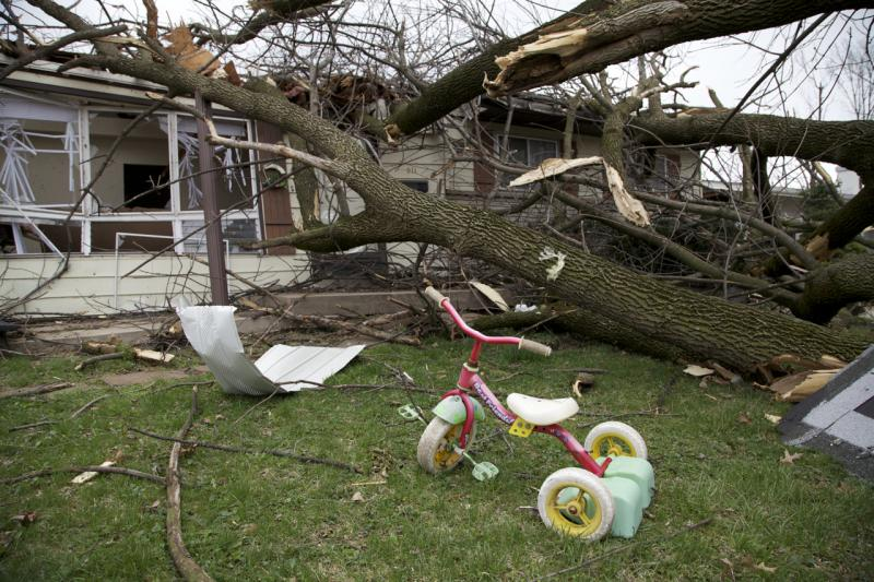 Cleanup following the storms on April 10 continues. This home in Hazelwood on Lynn Haven Ln.  was struck particularly hard.