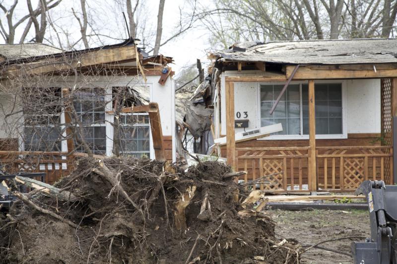 A home seemingly split in half in Hazelwood.