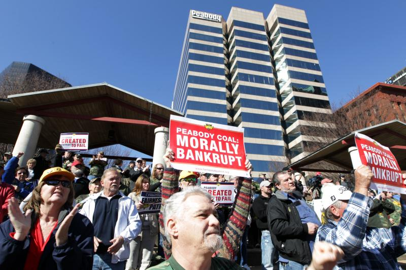 Protesters gather outside Peabody Energy's headquarters in St. Louis on Feb. 13 in one of several rallies held regarding Patriot Coal's bankruptcy this year.