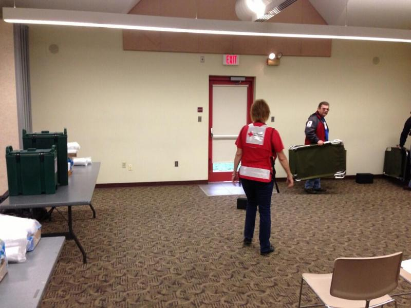 Red Cross workers set up at 8969 Dunn Rd in Hazelwood after their previous relief location lost power.