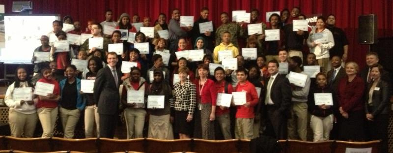 Roosevelt High students pose with school administrators and state treasurer Clint Zweifel after receiving their certificates. Missouri is one of four states in the nation that requires high school students to complete a course on financial literacy.