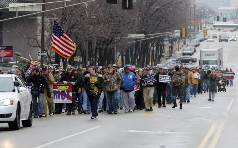 United Mine Workers march from Peabody Energy to the Thomas F. Eagleton Federal Courthouse on Feb. 26.
