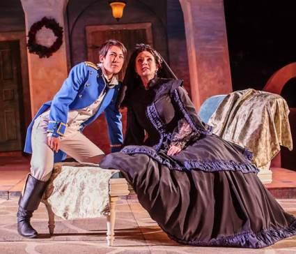 "Kimiye Corwin (Viola) and Leslie Ann Handelman (Olivia) in Shakespeare Festival St. Louis' production of ""Twelfth Night"""