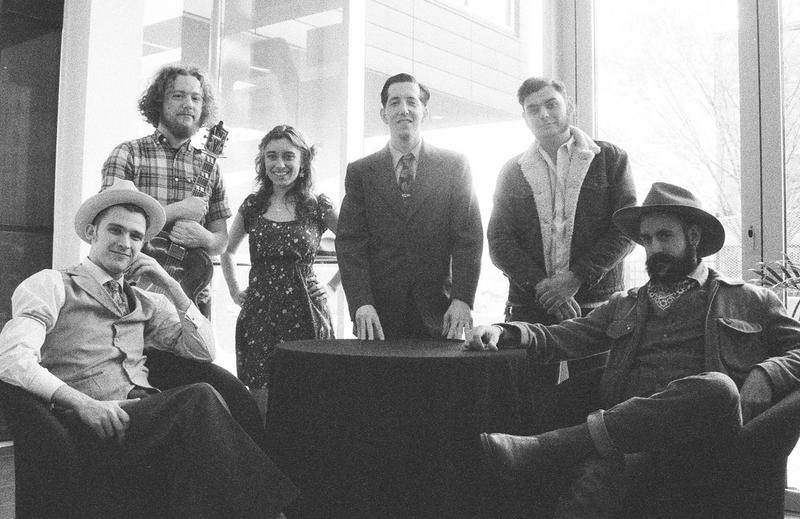 Pokey LaFarge and his band at St. Louis Public Radio.  (L to R): T.J. Muller, Adam Hoskins, Chloe Feoranzo, Pokey LaFarge, Joey Glynn, Ryan Koenig.
