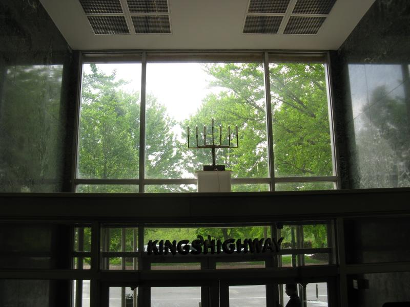 A menorah marks the entrance to the main building of the Jewish Hospital complex at 216 S. Kingshighway.