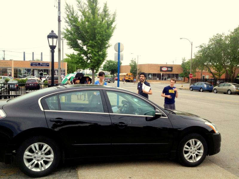 Supporters passed out flyers to customers entering and exiting the Jimmy Johns parking lot in Soulard.
