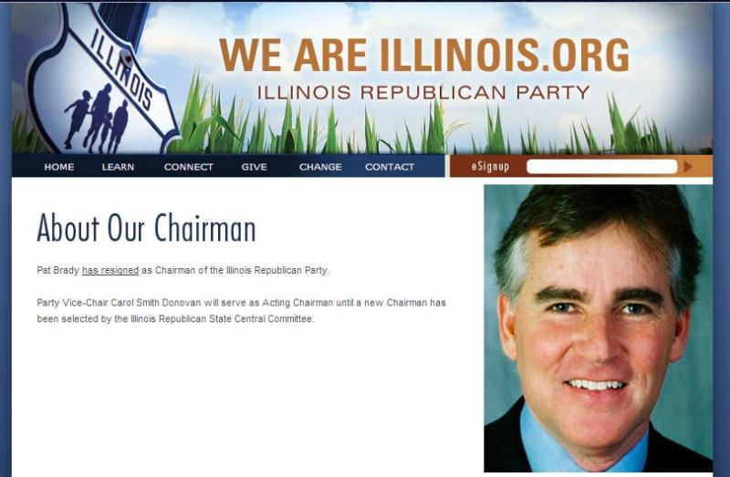 A screen capture of the website of the Illinois Republican Party announcing the resignation of party chairman Pat Brady.