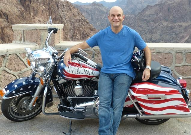 Peter Sagal and the Harley