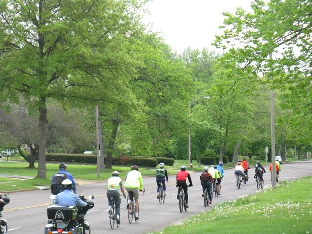 "Cyclists leave the History Museum in Forest Park as part of the ""Safe Roads for All"" campaign."