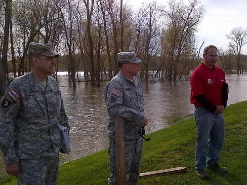 U.S. Army Corps of Engineers Mississippi Valley Division Commander Maj. Gen. John Peabody and St. Louis District Commander Col. Chris Hall visit the Big Swan Drainage and Levee District in Scott County, Ill., Apr. 22, 2013.