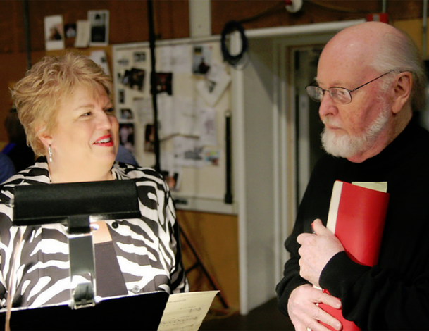 Christine Brewer and John Williams before a recording session