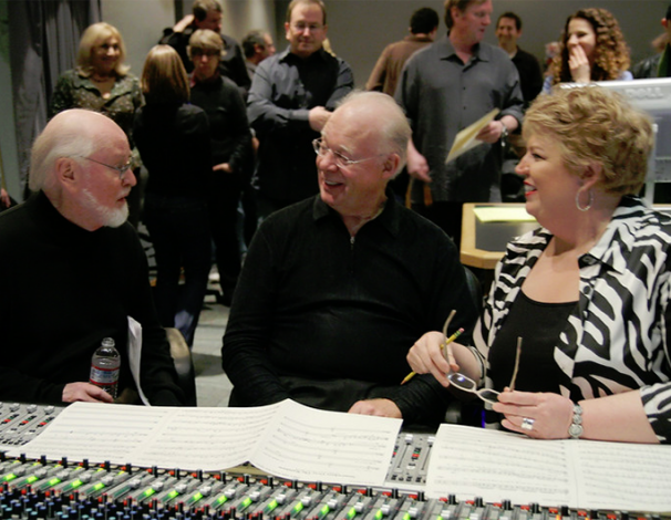 "John Williams, Lynn Harrell and Christine Brewer listening to a take of ""Over the Rainbow"""