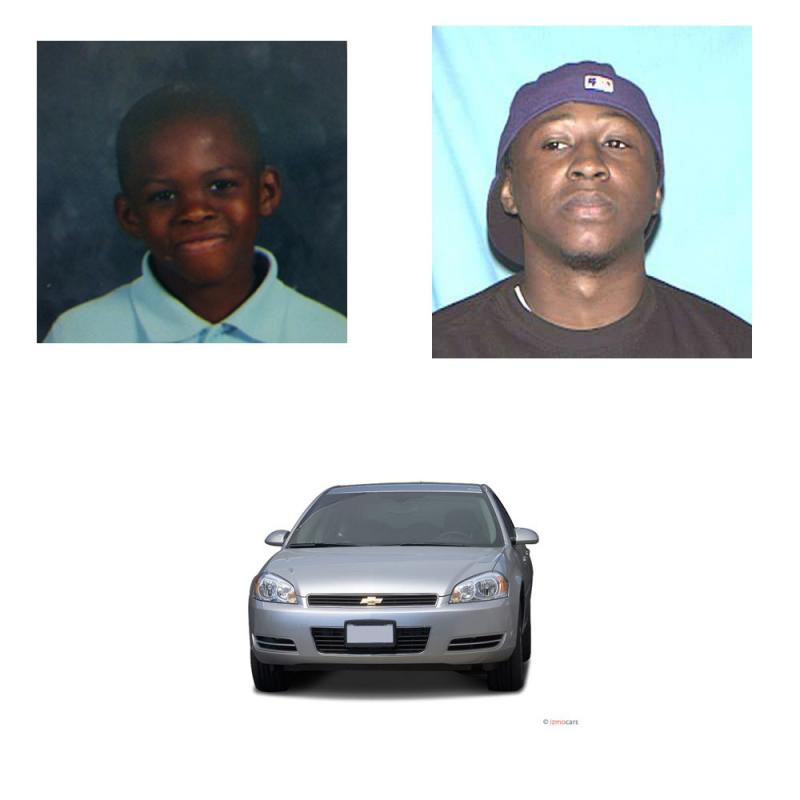 An Amber Alert has been issued for 8-year-old Luvell Maurice Dukes (top left). The suspect is believed to be Von Harrell, 30 (top right). Harrel's vehicle is of the same make and model as shown.