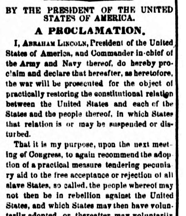An excerpt of an Emancipation Proclamation transcript printed in the September 23, 1862 National Republican, Washington D.C.