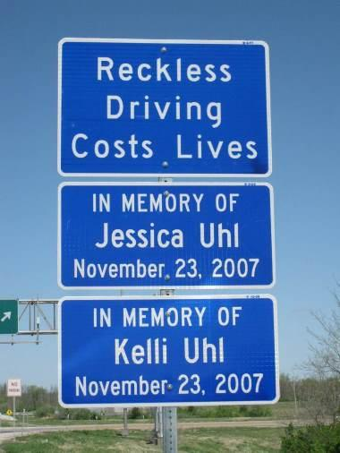 The Jessica and Kelli Uhl Memorial Highway is on Interstate 64 between Exit 19A at Illinois Route 158 and Exit 23 at Illinois Route 4