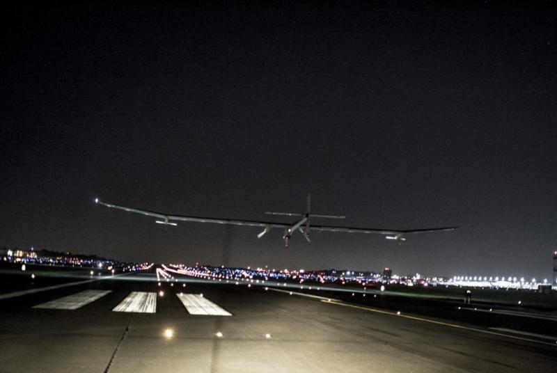 Solar Impulse lands at Lambert St. Louis International Airport June 4, 2013.