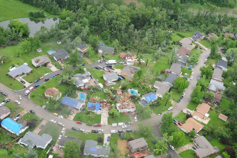 An aerial view of storm damage in St. Charles County.