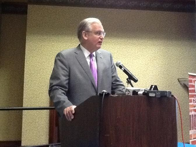 Mo. Gov. Jay Nixon (D) addresses Higher Ed. officials in Jefferson City on June 11th, 2013.