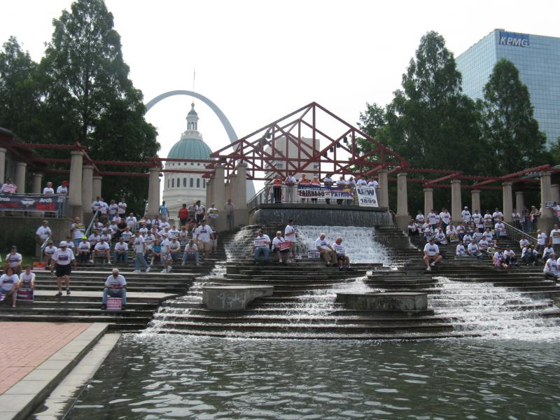 UMWA members and supporters protest in downtown St. Louis on June 17, 2013. This was the first rally since a Patriot Coal bankruptcy ruling allowed the company to change retirees' health benefits.