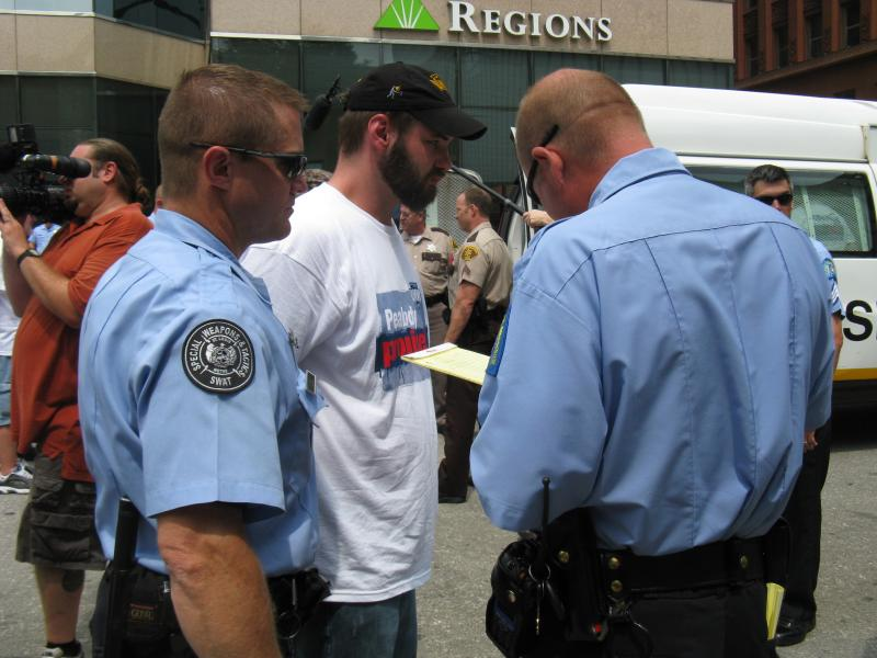 Miner Jeff Samek from Pennsylvania is arrested to honor his father, also a miner.