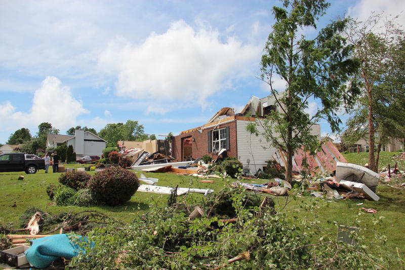 A storm damaged neighborhood in southern St. Charles County