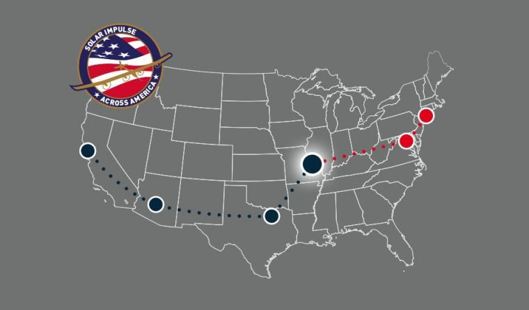 Solar Impulse will be making an additional stop in Cincinnati, Ohio (not shown).