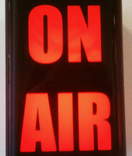 An on-air sign at St. Louis Public Radio.