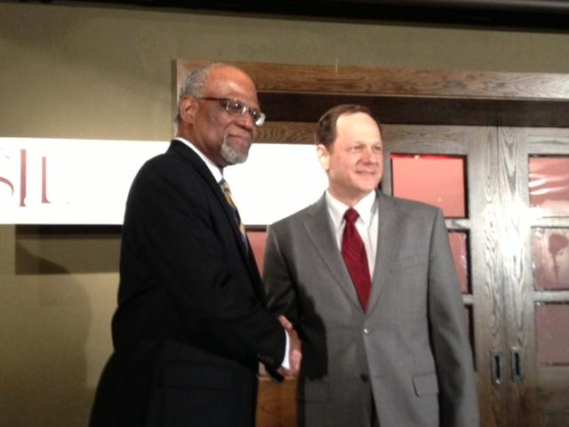 St. Louis County Executive Charlie Dooley and Mayor Francis Slay on February 22, 2013, after announcing plans to partially merge economic devleopment functions.