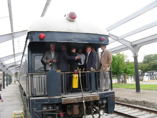 Mayor Francis Slay, St. Louis County executive Charlie Dooley, and officials with Lodging Hospitality Management on a chartered train car at Union Station on  June 6. Chartered trains are a part of LHM's $50 million rehab plan.