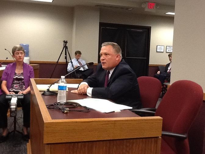 Mo. Office of Admin. Commissioner Doug Nelson testifies before the Mo. House committee on Privacy Protection on July 23, 2013.