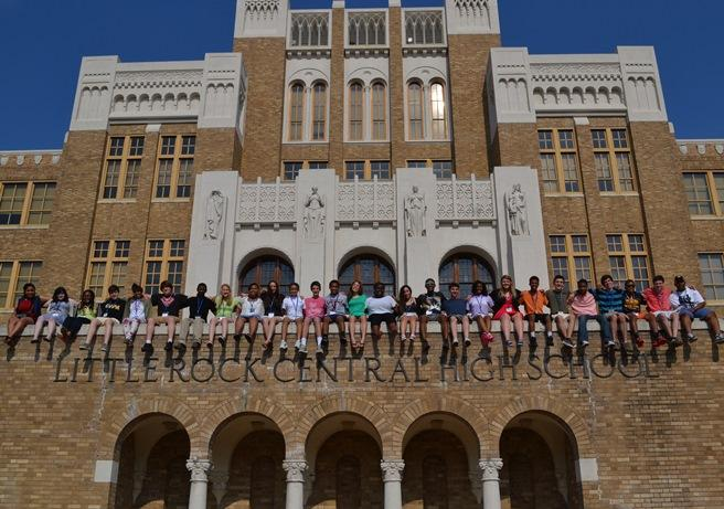 Cultural Leadership students at the entrance of Little Rock Central High School in Little Rock, Arkansas