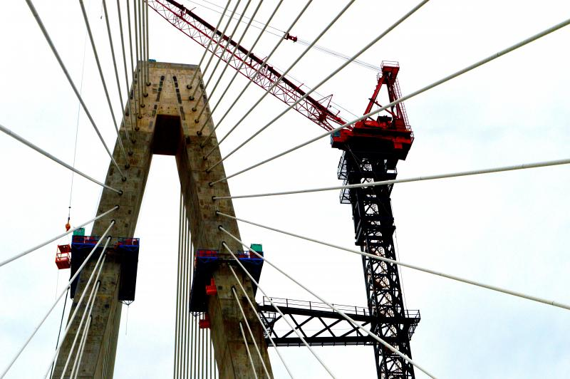 A look up at the new bridge.